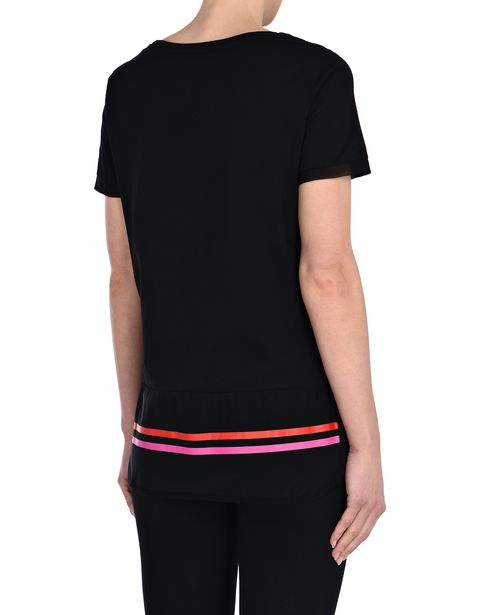 Women's cotton T-shirt with perforated fabric inserts