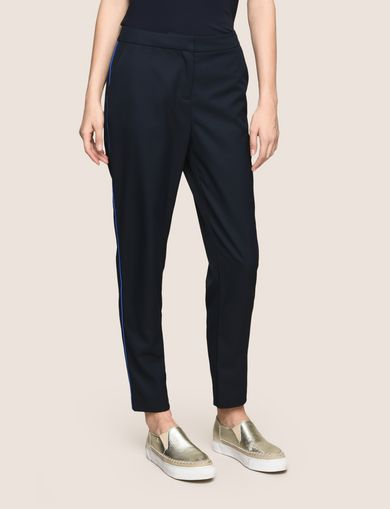SLIM CROPPED PIPING TROUSERS