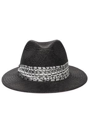 ROBERTO CAVALLI Leopard-print jersey-trimmed straw hat ... 24e9e50175c