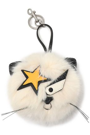 STELLA McCARTNEY Silver-tone, leather and faux fur keychain