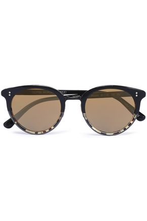 WOMAN ROUND-FRAME TORTOISESHELL ACETATE SUNGLASSES BLACK