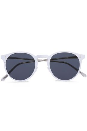 OLIVER PEOPLES Round-frame coated metal and acetate sunglasses