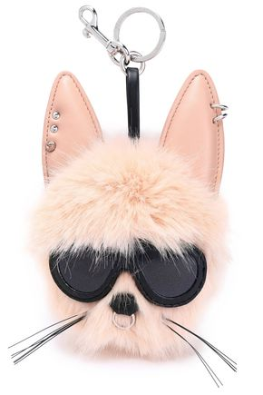 STELLA McCARTNEY Embellished faux fur and leather keychain