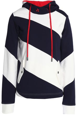 PERFECT MOMENT Embroidered striped cotton-terry hooded sweatshirt