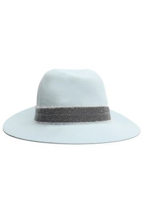RAG & BONE Frayed herringbone-trimmed wool fedora