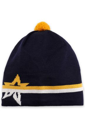 PERFECT MOMENT Pompom-embellished intarsia merino wool beanie
