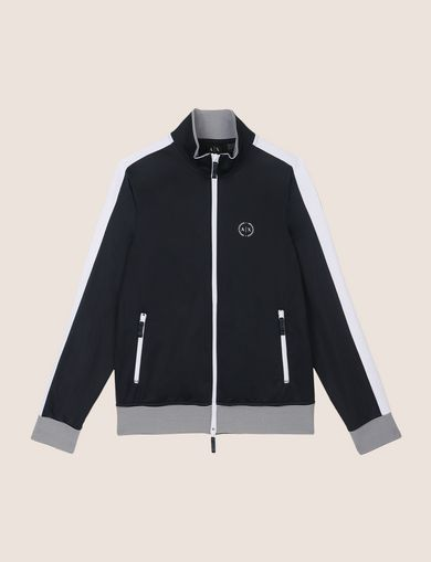 STRIPED TRIM ZIP-UP TRACK JACKET