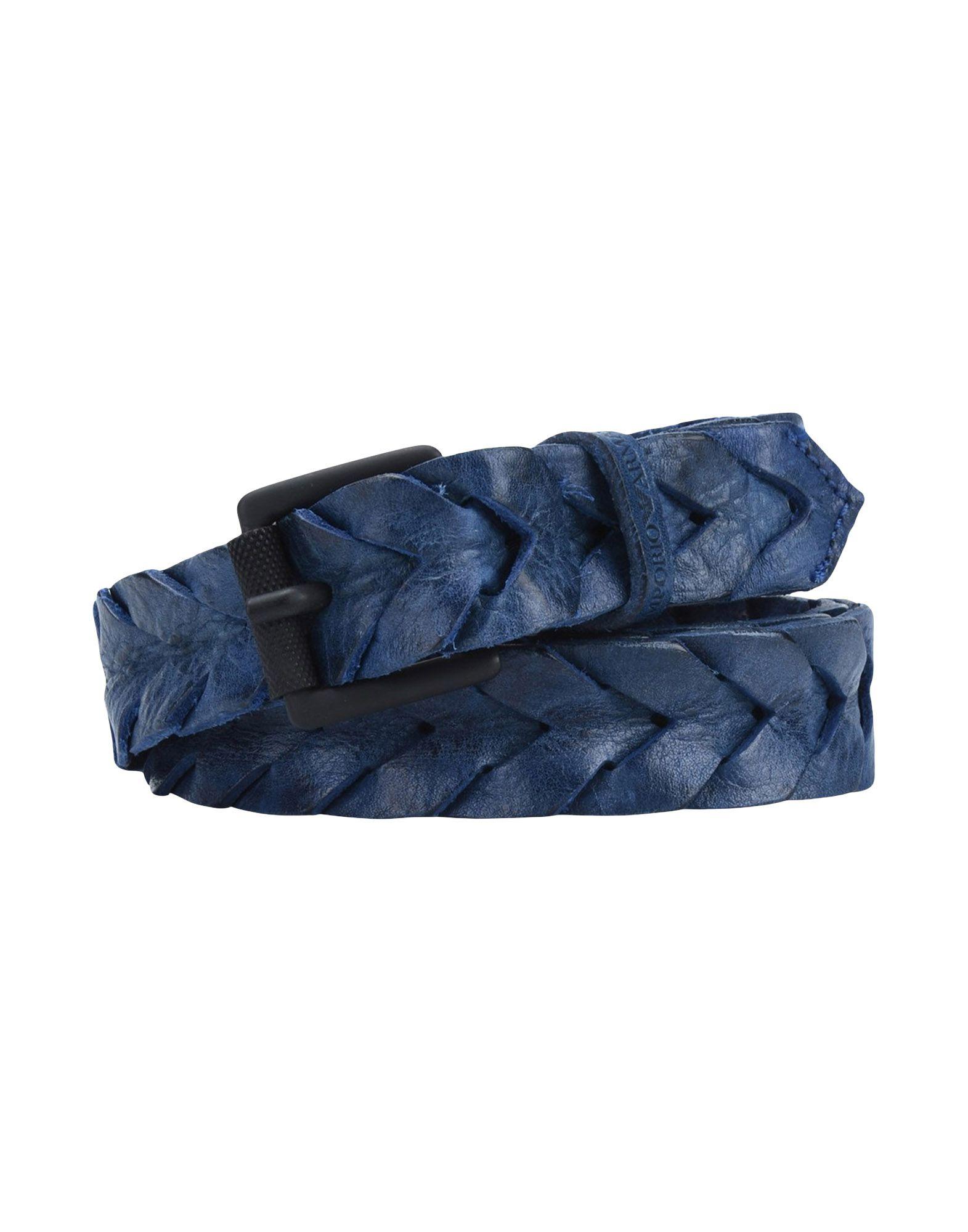 《期間限定セール開催中!》EMPORIO ARMANI メンズ ベルト ブルー 80 革