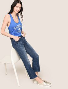 ARMANI EXCHANGE RAW HEM FLARE-CROP JEAN Relaxed Fit Denim Woman a