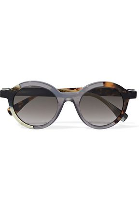 FENDI Round-frame printed acetate sunglasses