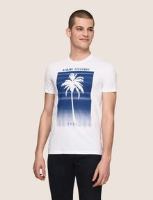 ARMANI EXCHANGE OMBRE PALM PRINT TEE Logo T-shirt Man f