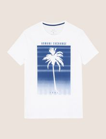 ARMANI EXCHANGE OMBRE PALM PRINT TEE Logo T-shirt Man r