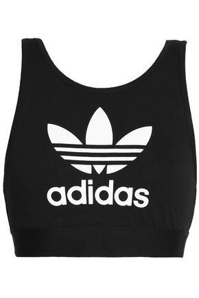 ADIDAS ORIGINALS Printed stretch-cotton jersey sports bra