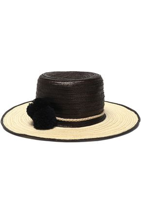 SOPHIE ANDERSON Pompom-embellished two-tone straw hat