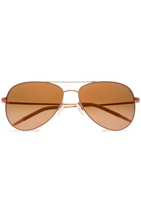 OLIVER PEOPLES Aviator gold-tone sunglasses