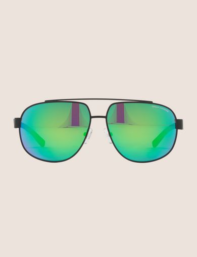 GREEN MIRROR AVIATOR SUNGLASSES