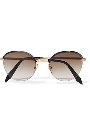 VICTORIA BECKHAM Windsor round-frame printed acetate and gold-tone sunglasses