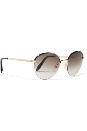 VICTORIA BECKHAM Windsor round-frame marbled acetate and gold-tone sunglasses