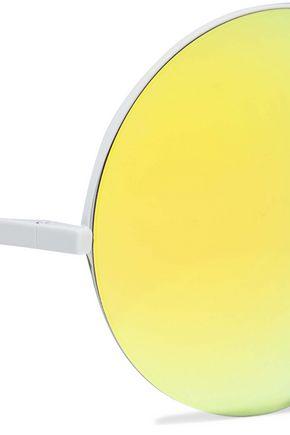 VICTORIA BECKHAM Supra round-frame coated-metal mirrored sunglasses