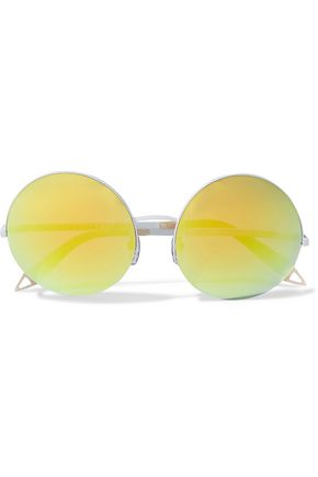 VICTORIA BECKHAM Supra round-frame coated-metal mirrored sunglasses