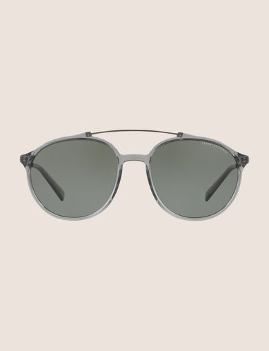 TRANSPARENT GREY ROUNDED AVIATOR SUNGLASSES