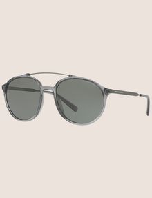 ARMANI EXCHANGE TRANSPARENT GREY ROUNDED AVIATOR SUNGLASSES Sunglass Man e