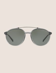 ARMANI EXCHANGE TRANSPARENT GREY ROUNDED AVIATOR SUNGLASSES Sunglass Man f