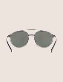 ARMANI EXCHANGE TRANSPARENT GREY ROUNDED AVIATOR SUNGLASSES Sunglass Man r