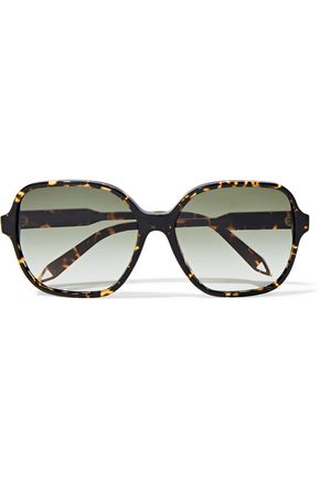 VICTORIA BECKHAM Square-frame acetate and gold-tone sunglasses