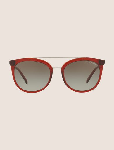 TRANSPARENT RED CAT-EYE AVIATOR SUNGLASSES