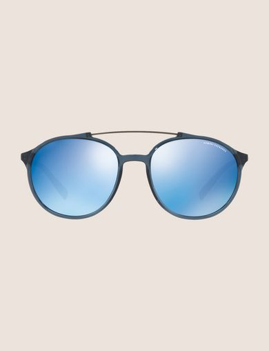 TRANSPARENT MIRROR ROUNDED AVIATOR SUNGLASSES
