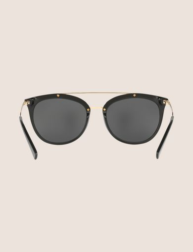 SHINY BLACK CAT-EYE AVIATOR SUNGLASSES