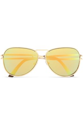 ROLAND MOURET Aviator-style gold-tone sunglasses