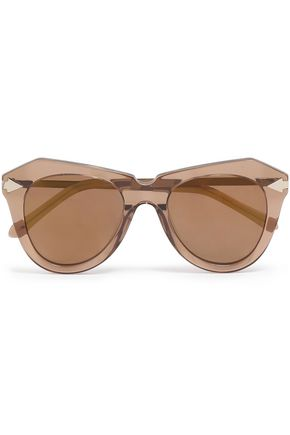 KAREN WALKER D-frame acetate and gold-tone sunglasses