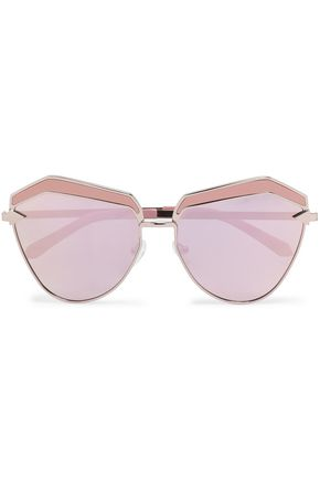 KAREN WALKER Square-frame rose gold-tone and acetate sunglasses