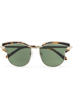 KAREN WALKER Round-frame tortoiseshell acetate and gold-tone sunglasses