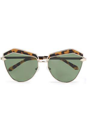 KAREN WALKER Cat-eye gold-tone and tortoiseshell acetate sunglasses