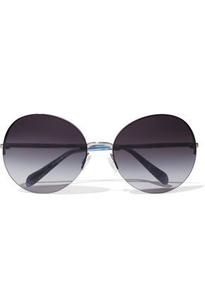 OLIVER PEOPLES Round-frame printed acetate and silver-tone sunglasses