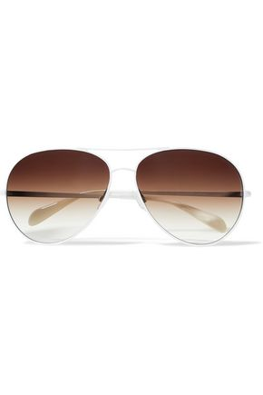 WOMAN SAYER AVIATOR-STYLE METAL SUNGLASSES WHITE