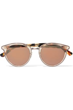 OLIVER PEOPLES Round-frame tortoiseshell acetate mirrored sunglasses