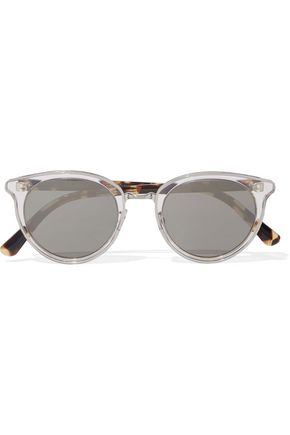 OLIVER PEOPLES Round-frame printed acetate mirrored sunglasses