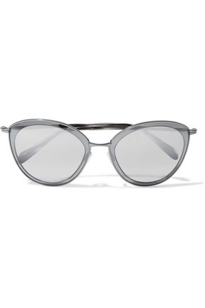 WOMAN ROUND-FRAME GUNMETAL-TONE MIRRORED SUNGLASSES GRAY
