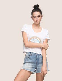 ARMANI EXCHANGE MIAMI RAINBOW CROPPED BURNOUT TEE Logo T-shirt Woman a