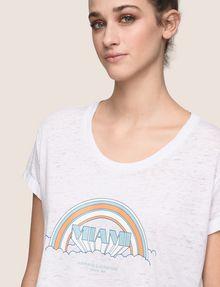 ARMANI EXCHANGE MIAMI RAINBOW CROPPED BURNOUT TEE Logo T-shirt Woman b
