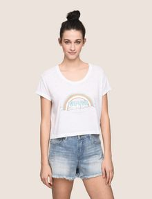 ARMANI EXCHANGE MIAMI RAINBOW CROPPED BURNOUT TEE Logo T-shirt Woman f