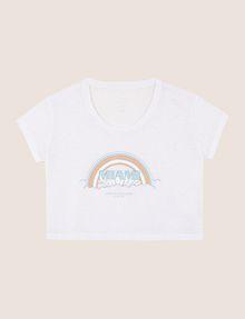 ARMANI EXCHANGE MIAMI RAINBOW CROPPED BURNOUT TEE Logo T-shirt Woman r