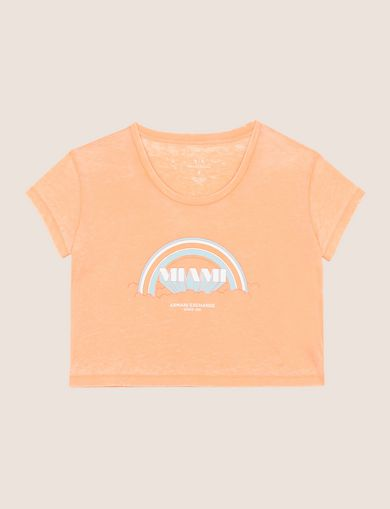 MIAMI RAINBOW CROPPED BURNOUT TEE