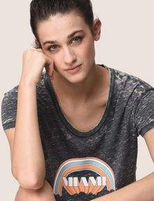 ARMANI EXCHANGE MIAMI RAINBOW CROPPED BURNOUT TEE Logo T-shirt Woman a