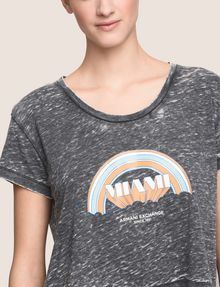 ARMANI EXCHANGE MIAMI RAINBOW CROPPED BURNOUT TEE Logo T-shirt Woman b