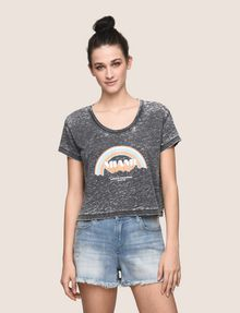 ARMANI EXCHANGE MIAMI RAINBOW CROPPED BURNOUT TEE Logo T-shirt Woman f